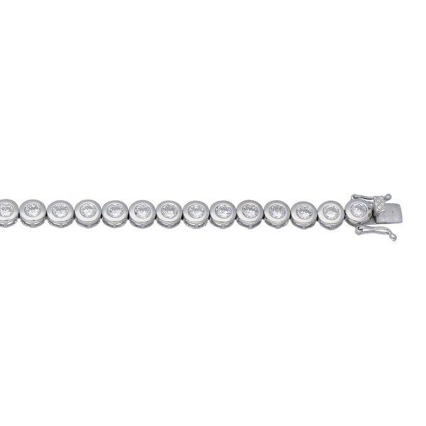 Zilveren tennisarmband - ronde zirkonia