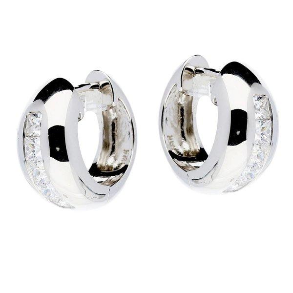 Zilveren klapcreolen - bol - zirkonia