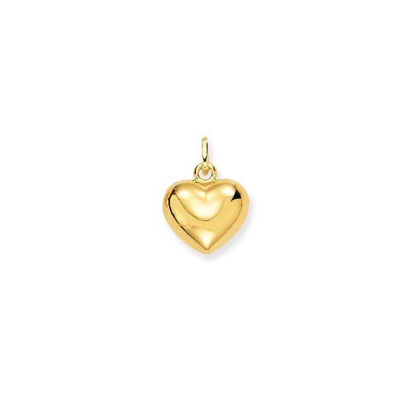 Gouden bedel - 11 x 13 mm - bol hart - glanzend