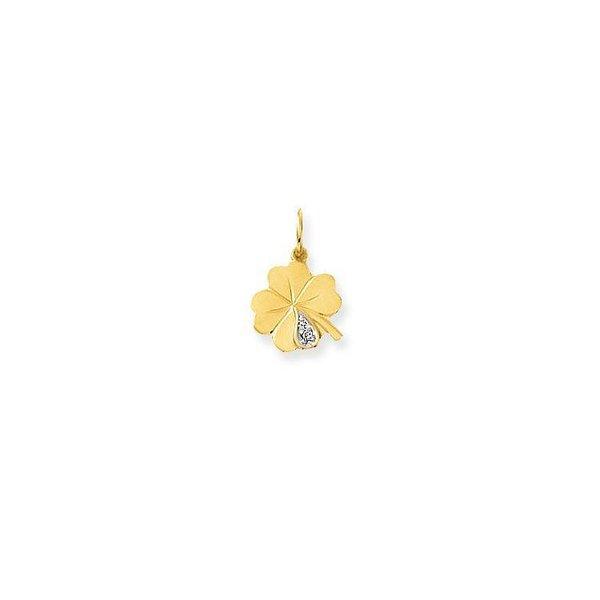 Gouden bedel - klaver - met diamant