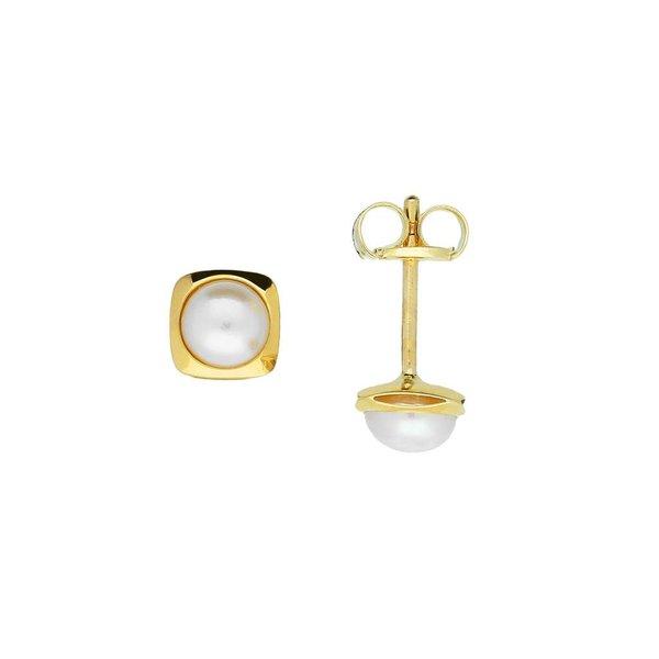 Gouden zoetwaterpareloorknopjes - 4.0 mm - gladde