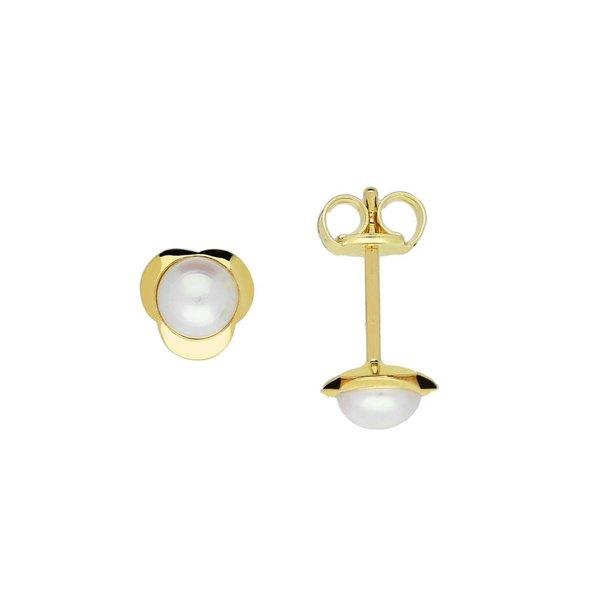 Gouden zoetwaterpareloorknopjes - 4.0 mm - bloem