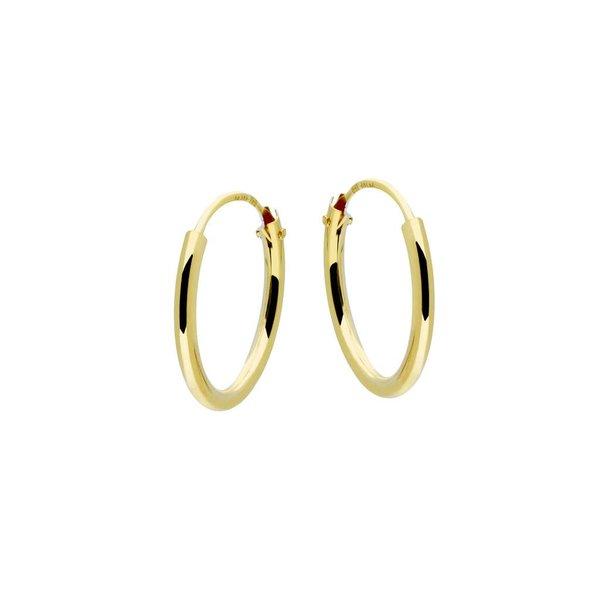 Gouden draadcreolen - ronde buis - 13 x 1.3 mm