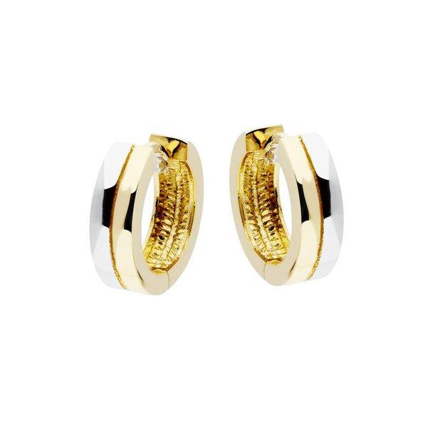 Gouden klapcreolen - bicolor - vierkante buis 12mm