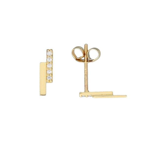 Gouden oorknoppen - dubbele balk - zirkonia