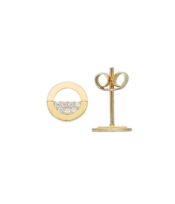 Glow Gouden oorknoppen - rond - half pave -