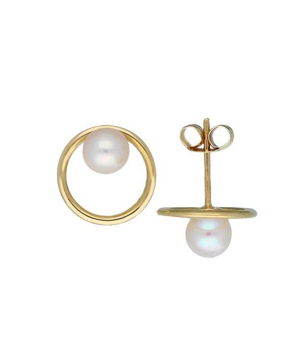 Glow Gouden oorknoppen - cirkel - zoetwaterparel - 5 mm -