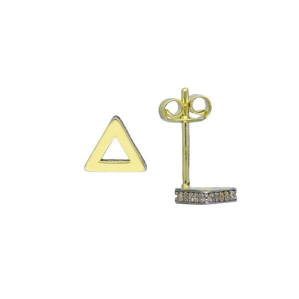 Gouden oorknop - 3 hoek met zirkonia
