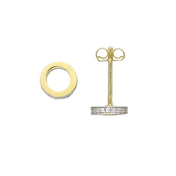 Gouden oorknop - rond open met zirkonia