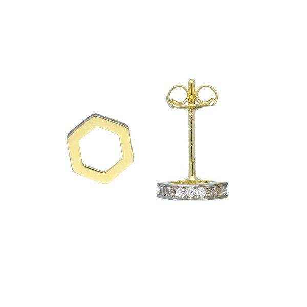 Gouden oorknop - 6 kant met zirkonia
