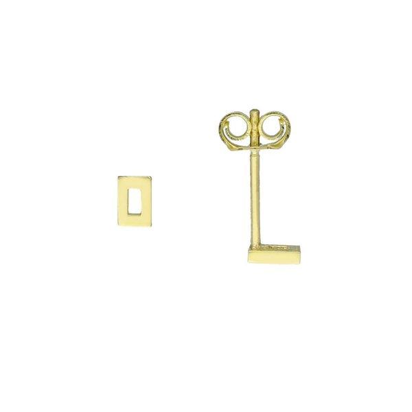 Gouden oorknop - rechthoek