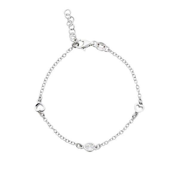 Zilveren symboolarmband - open harten gerodineerd