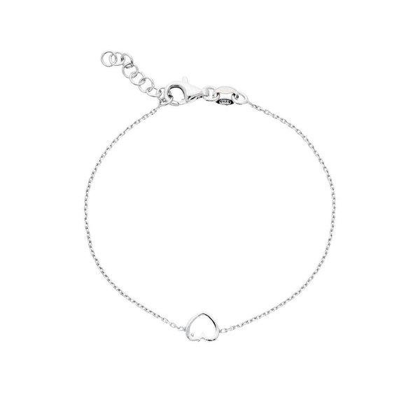 Zilveren symboolarmband - open hart gerodineerd
