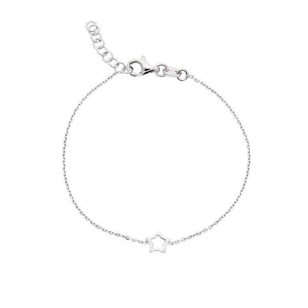 Zilveren symboolarmband - open ster gerodineerd