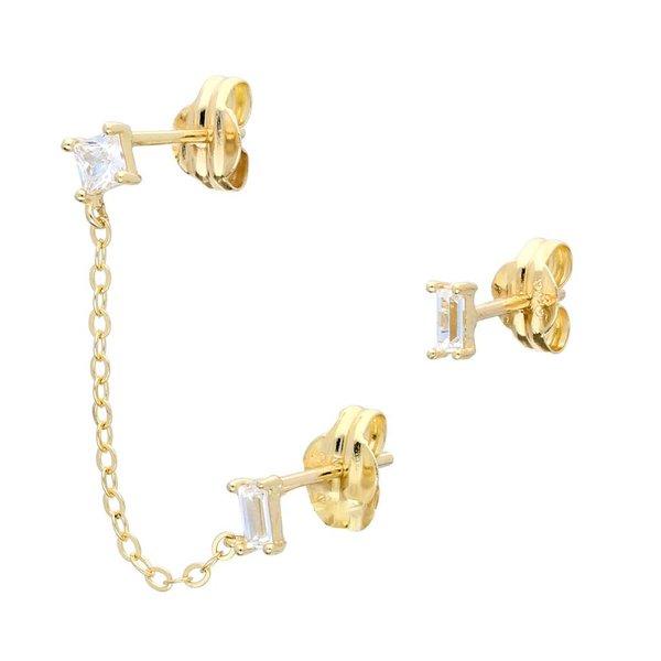 Gouden oorknoppen - baguette - cushion met ketting