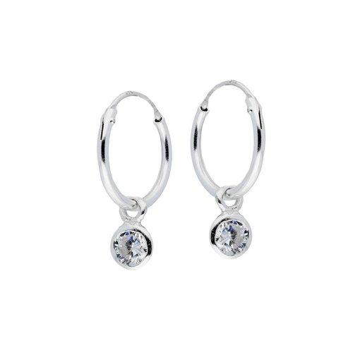 Zilveren draadcreolen met hanger - zirkonia