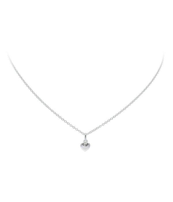Best basics Zilveren collier met hanger - hart - 6 x 12mm - Jasseron - 39-41 cm
