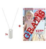 Best basics Pakket zilveren kidstag sos - 3x kidstag incl. collier + gratis display