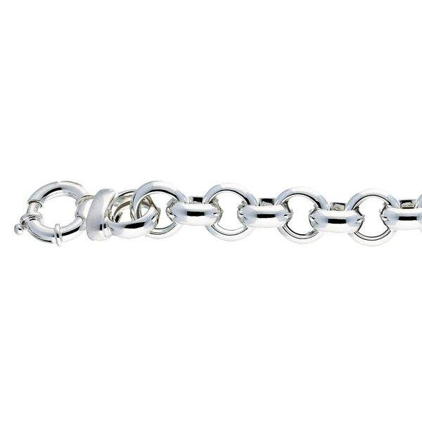 Zilveren schakelarmband - jasseron 15 mm - 22 cm