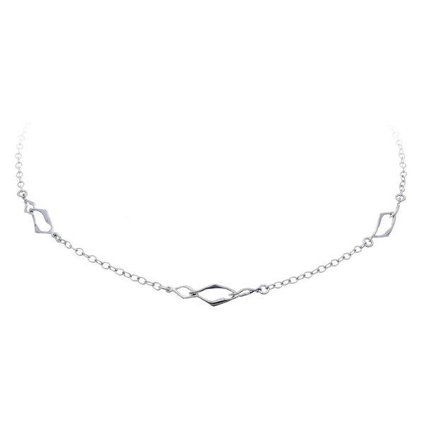 Zilveren gerodineerd collier - 3x ruit schakel