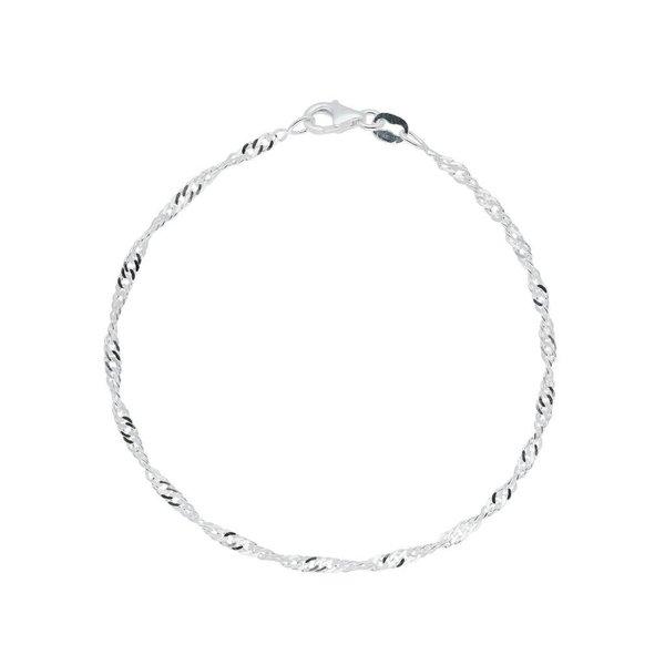 Zilveren schakelarmband - singapore 2.5 mm