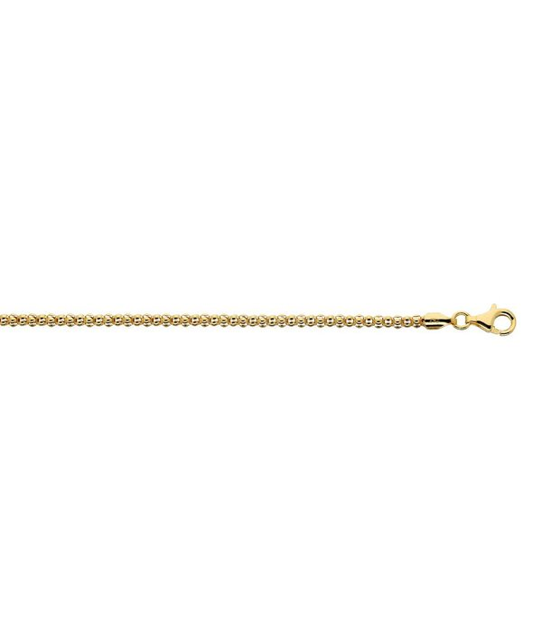 Best basics Zilveren gold-plated schakelarmband - popcorn - 3.5 mm - 19 cm
