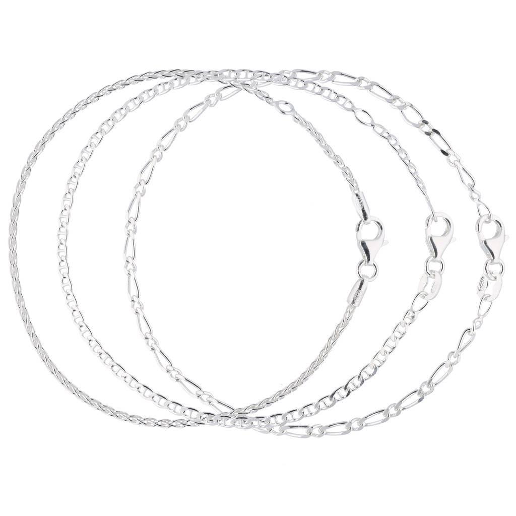 Best basics Zilveren armbandenset - Drie schakelarmbandjes