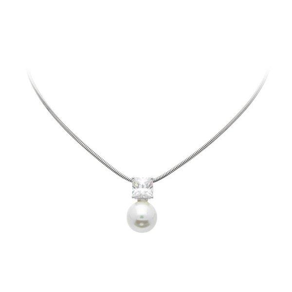 Zilveren collier met parelhanger - wit - zirkonia