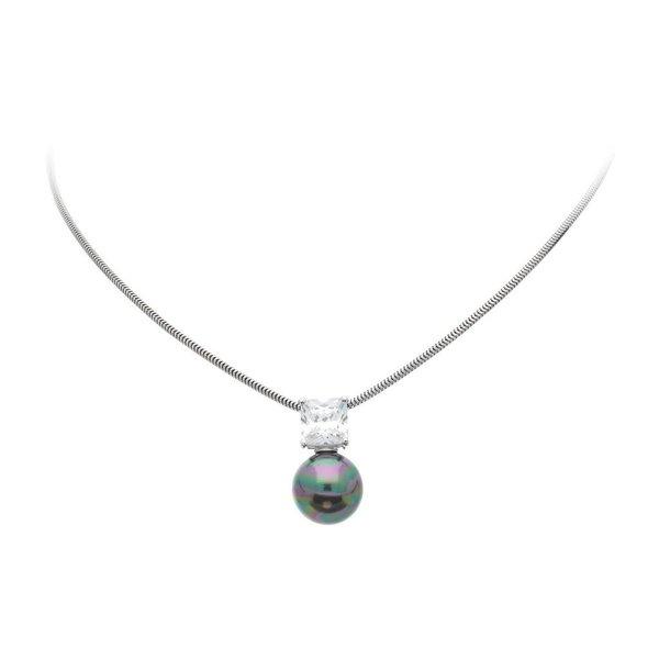Zilveren collier met parelhanger - zwart -zirkonia