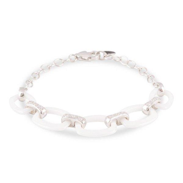 Zilveren schakelarmband - wit keramiek - zirkonia