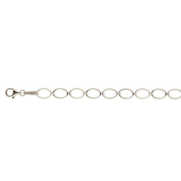Zilveren schakelarmband - ovaal mat glanzend