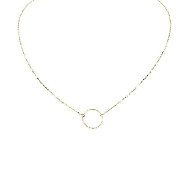 Gouden collier met hanger - rondje