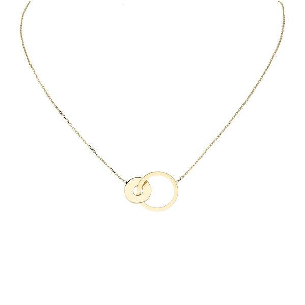 Gouden collier met hanger - 2 rondjes