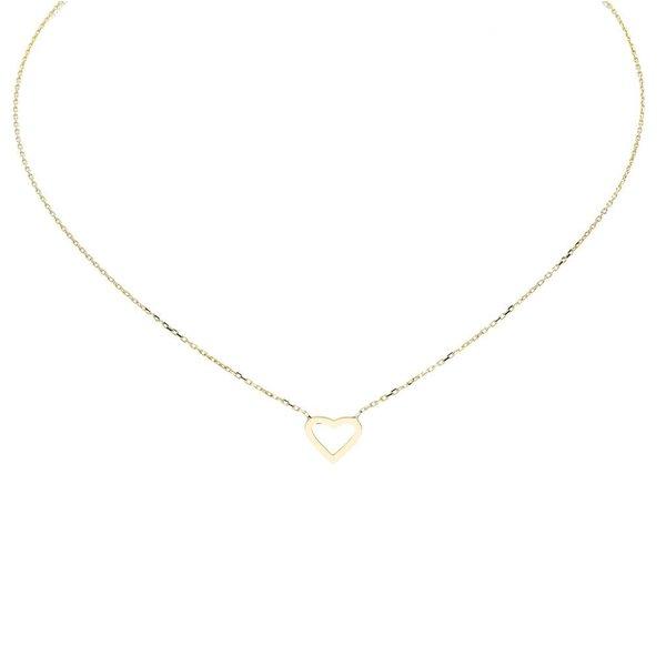 Gouden collier met hanger - open hart