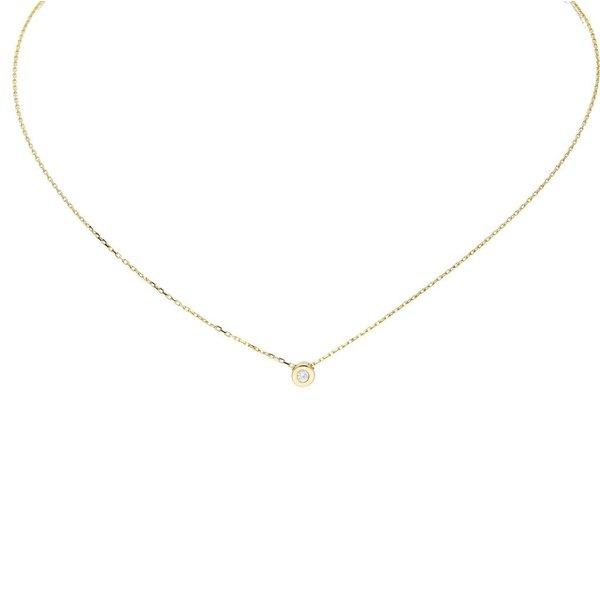 Gouden collier met hanger - zirkonia