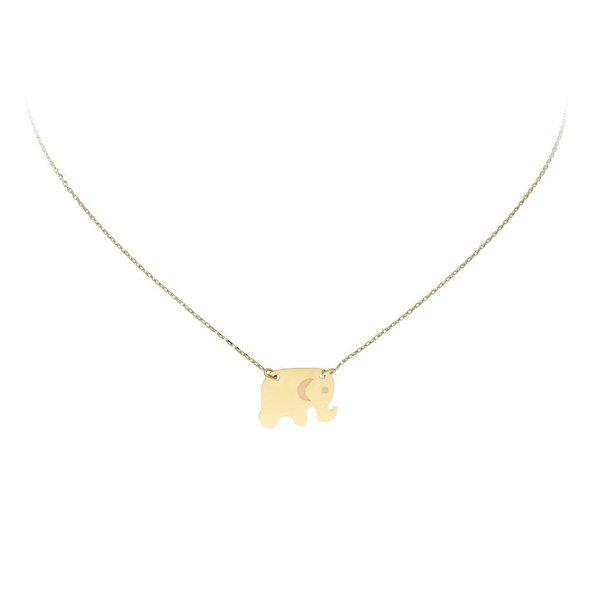 Gouden collier met hanger - olifant - 40+3cm
