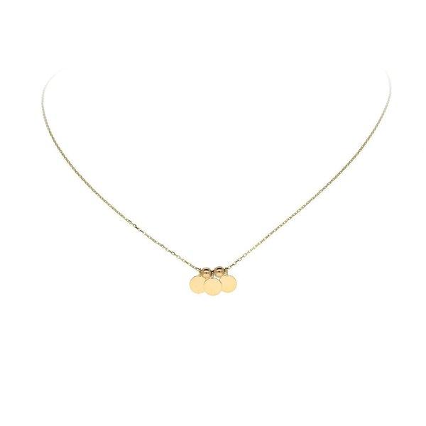 Gouden collier met hanger - 3 rondjes - 40+3cm