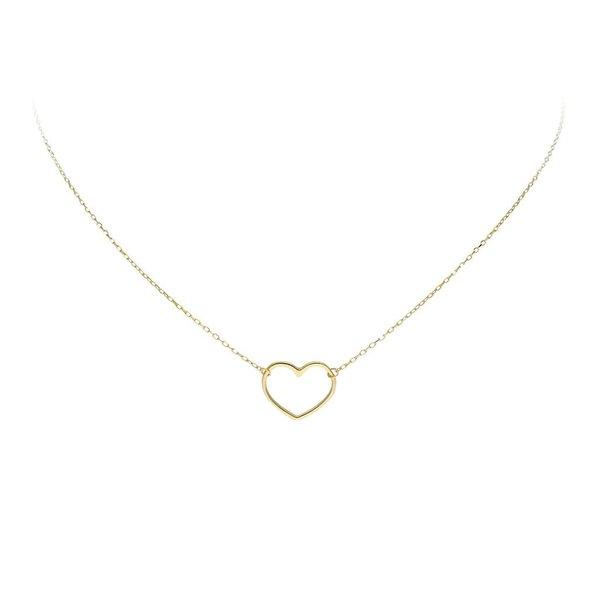 Gouden collier met hanger - hart - 40+3cm