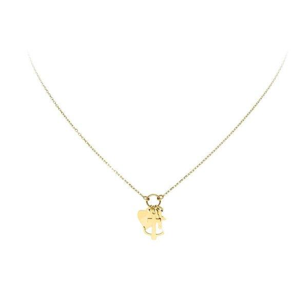 Gouden collier met hanger - geloof, hoop, liefde
