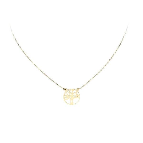 Gouden collier met hanger - levensboom - 40+3cm