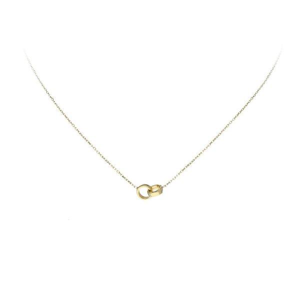 Gouden collier met hanger - 2 cirkels - 40+3cm