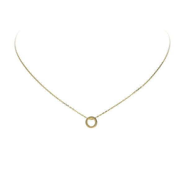 Gouden collier -  open rondje met zirkonia