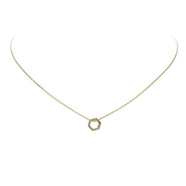 Gouden collier - 6 kant met zirkonia