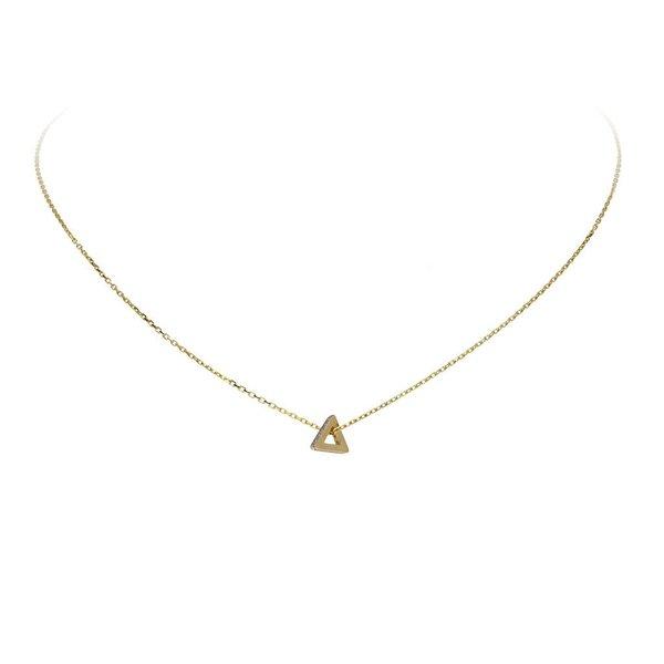 Gouden collier - 3 hoek met zirkonia