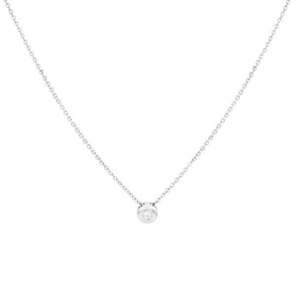 Witgouden collier met hanger - diamant - 1-0.03ct
