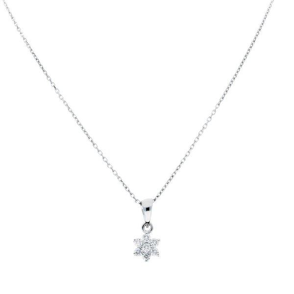 Witgouden collier met hanger - diamant - 0.16ct.