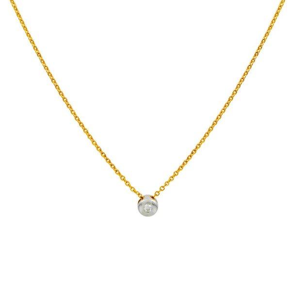 Gouden collier met wit gouden  hanger -diamant