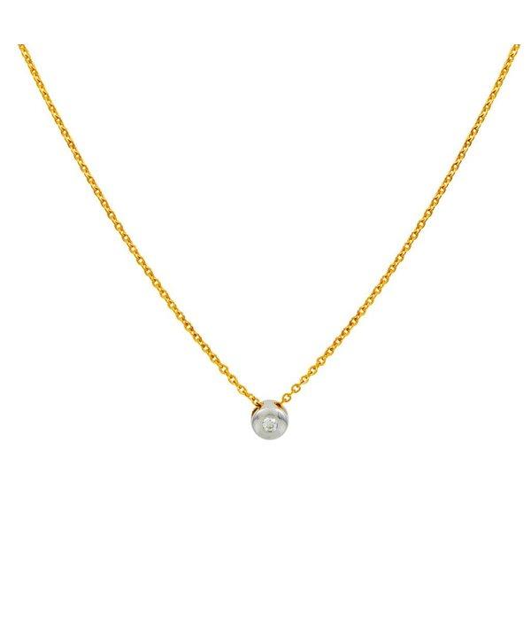 Glow Gouden collier met wit gouden  hanger -diamant - 1-0.03 ct - g/si - anker - 42 + 3 cm