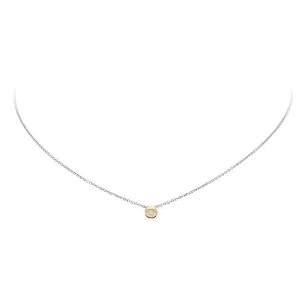 Gouden collier met hanger - diamant - 0.03ct.