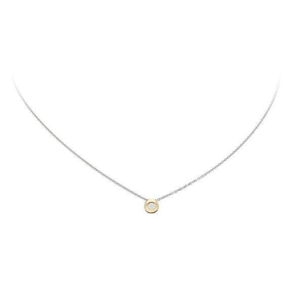 Gouden collier met hanger - diamant - 0.05ct.